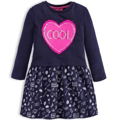 Dievčenské šaty s preklápacími flitrami KNOT SO BAD FUN modré