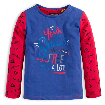 Dievčenské tričko LEMON BERET SMILES modré