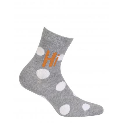 Dievčenské vzorované ponožky WOLA HI BODKY šedé