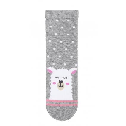 Dievčenské ponožky so vzorom WOLA LAMA šedé