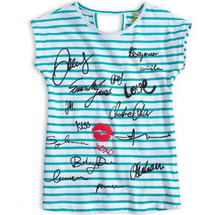 Dievčenské tričko LEMON BERET VIP zelený prúžok