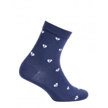 Dievčenské ponožky vzor WOLA SRDIEČKA modré
