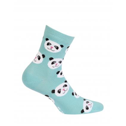 Vzorované dievčenské ponožky WOLA PANDY tyrkysové