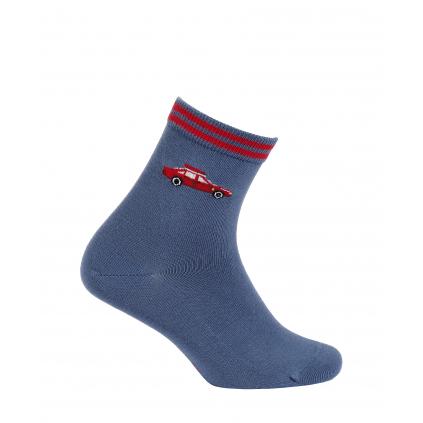 Vzorované chlapčenské ponožky WOLA AUTO modré jeans