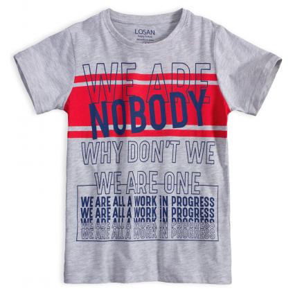 Chlapčenské tričko LOSAN NOBODY šedý melír