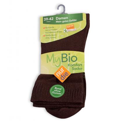 Dámske ponožky z bio bavlny NUR DIE hnedé
