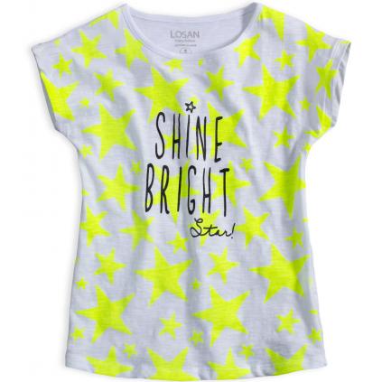 Dievčenské tričko LOSAN HVIEZDY biele neon potlač