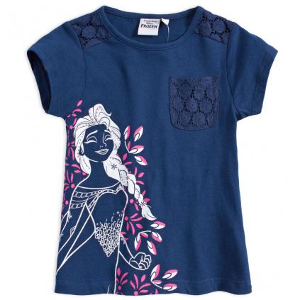 Dievčenské tričko s čipkou DISNEY FROZEN ELSA tmavo modré
