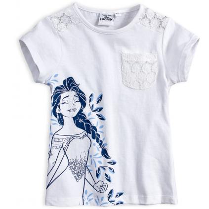 Dievčenské tričko s čipkou DISNEY FROZEN ELSA biele
