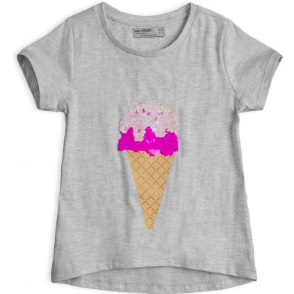 Dievčenské tričko GLO-STORY ZMRZLINA šedý melír