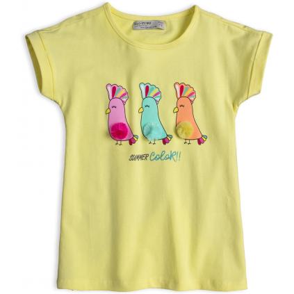 Dievčenské tričko GLO-STORY PAPAGÁJE svetlo žlté