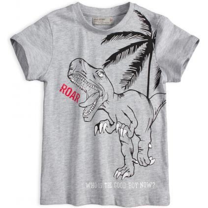 Chlapčenské tričko GLO-STORY TYRANOSAURUS šedé