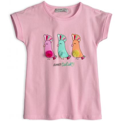 Dievčenské tričko GLO-STORY PAPAGÁJE svetlo ružové