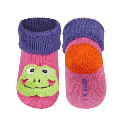 Dojčenské ponožky s hrkálkou SOXO ŽABKA ružové