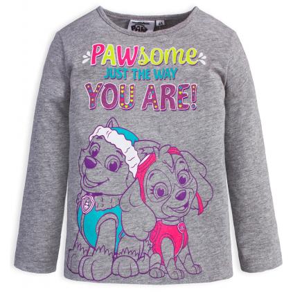 Dievčenské tričko PAW PATROL PAWSOME šedé
