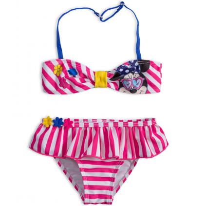 Dvojdielne dievčenské plavky DISNEY MINNIE KVETINKY ružové