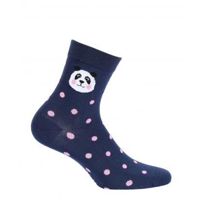 Dievčenské ponožky s obrázkom GATTA PANDA, BODKY modré