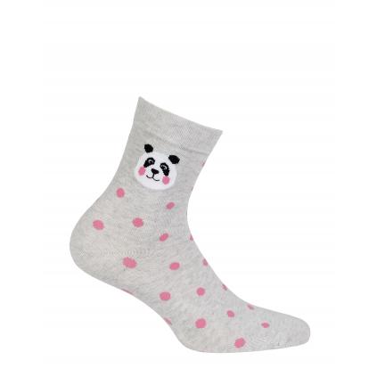 Dievčenské ponožky s obrázkom GATTA PANDA, BODKY šedé