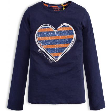 Dievčenské tričko s otáčacími flitrami LEMON BERET SRDCE modré
