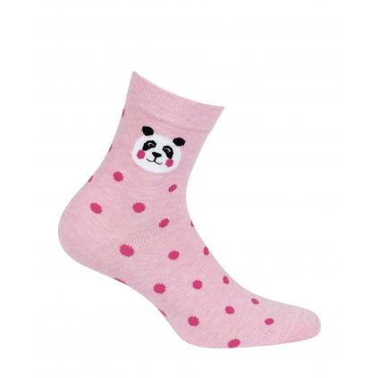 Dievčenské ponožky s obrázkom GATTA PANDA, BODKY ružové