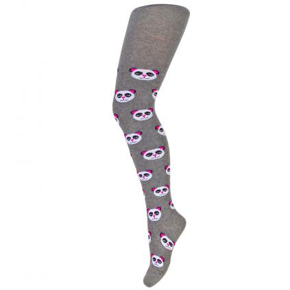Dievčenské pančuchy so vzorom WOLA PANDY tmavo šedé