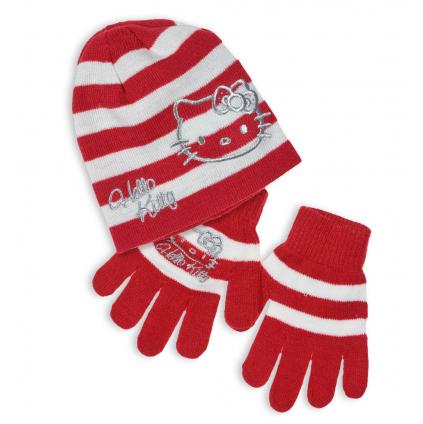 Dievčenská čiapka a rukavice HELLO KITTY červená