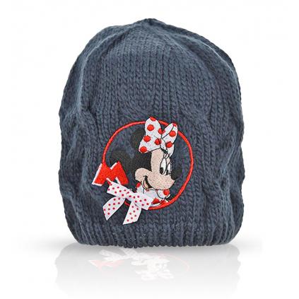 Dievčenská pletená čiapka DISNEY MINNIE DOTS modrá