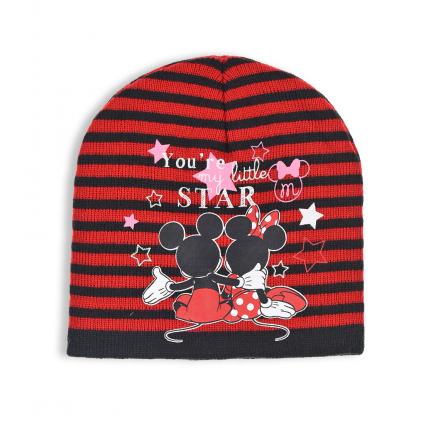 Dievčenská čiapka DISNEY MINNIE STAR červeno čierna