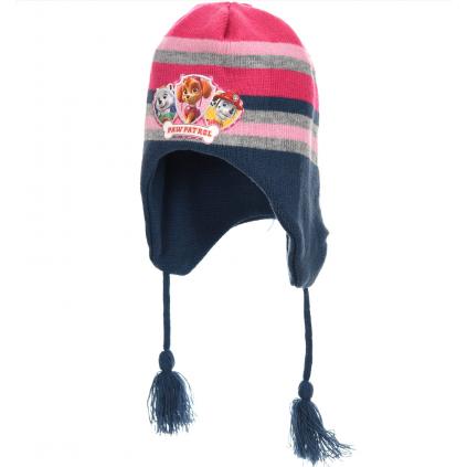 Dievčenská pletená čiapka PAW PATROL modroružová