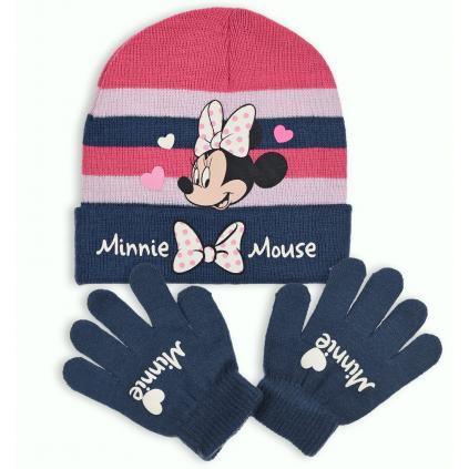 Dievčenská čiapka a rukavice DISNEY MINNIE SRDIEČKA modrá