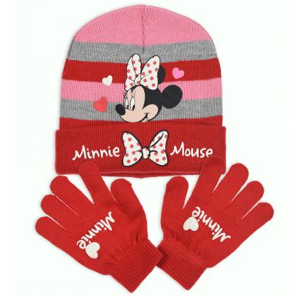 Dievčenská čiapka a rukavice DISNEY MINNIE SRDIEČKA červená