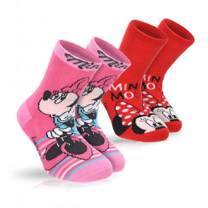 Dievčenské termo ponožky DISNEY MINNIE PRÚŽKY červené