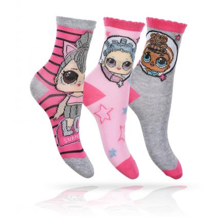Dievčenské ponožky 3 páry L.O.L SURPRISE šedé