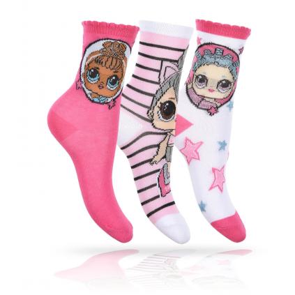 Dievčenské ponožky 3 páry L.O.L SURPRISE biele