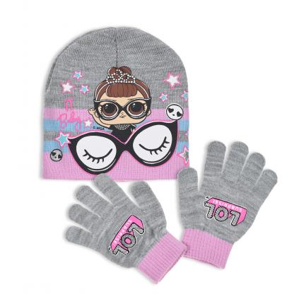Dievčenská čiapka a rukavice L.O.L SURPRISE BABY šedá