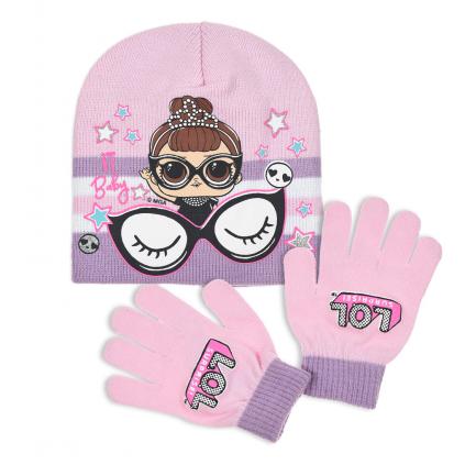 Dievčenská čiapka a rukavice L.O.L SURPRISE BABY svetlo ružová