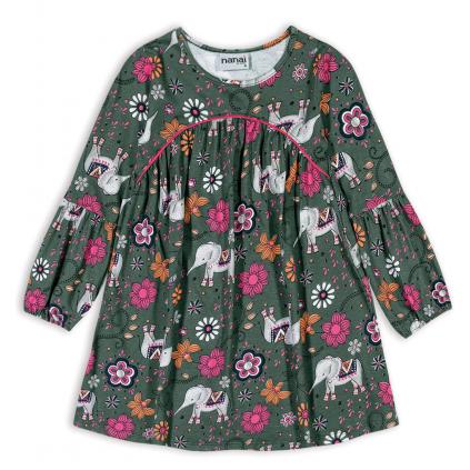 Dievčenské šaty NANAI SLONY zelené