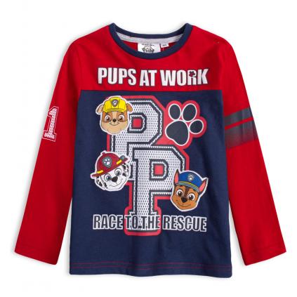 Chlapčenské tričko PAW PATROL AT WORK červenomodré