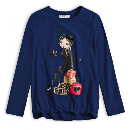Dievčenské tričko GLO STORY SHOPPING GIRL tmavo modré