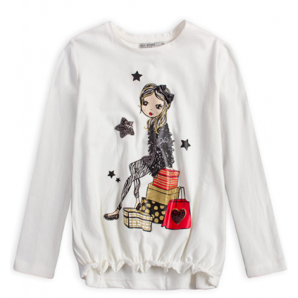 Dievčenské tričko GLO STORY SHOPPING GIRL biele
