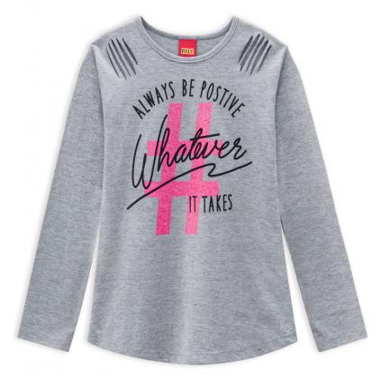 Dievčenské tričko KYLY HASHTAG šedé