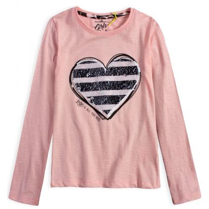 Dievčenské tričko s otáčacími flitrami LEMON BERET SRDCE ružové