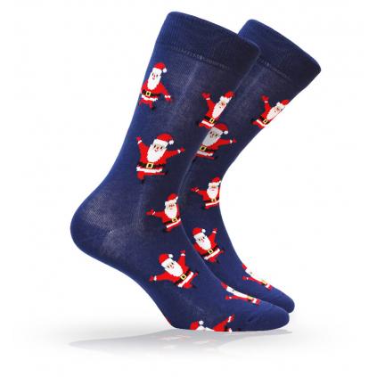 Pánske ponožky s vianočným motívom WOLA SANTA CLAUS modré