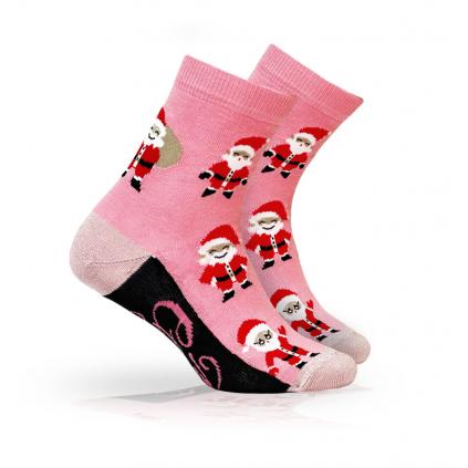 Ponožky s vianočným motívom WOLA SANTOVÉ ružové