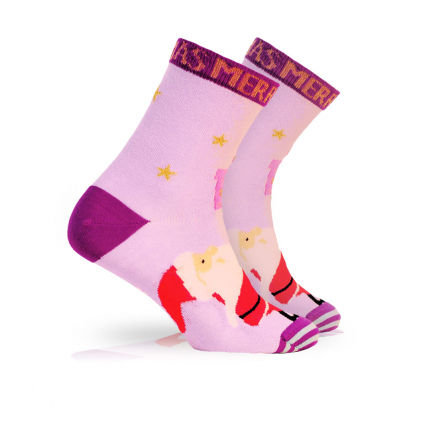 Detské ponožky s vianočným motívom WOLA SANTA DARČEKY fialové