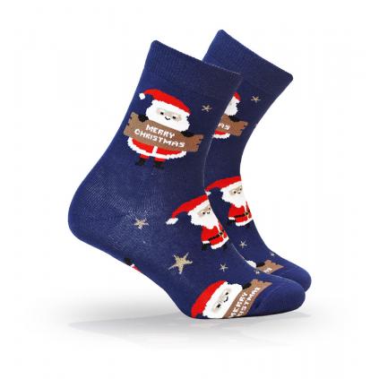 Ponožky s vianočným motívom WOLA SANTA, HVIEZDIČKY modré