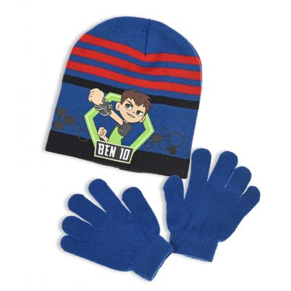 Chlapčenská čiapka a rukavice BEN 10 modro-červená