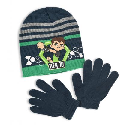 Chlapčenská čiapka a rukavice BEN 10 zeleno-modrá
