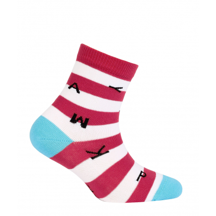 Dievčenské vzorované ponožky GATTA PÍSMENÁ coral