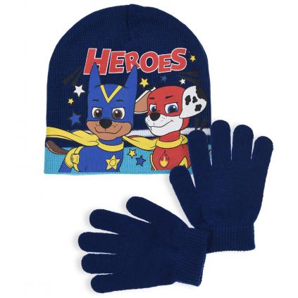 Chlapčenská čiapka a rukavice PAW PATROL HEROES modrá